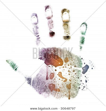 Colorful handprint painted isolated