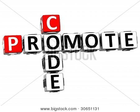 3D Promote Code Crossword Cube Words