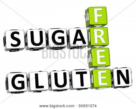 3D Gluten Sugar Free Crossword Cube Words