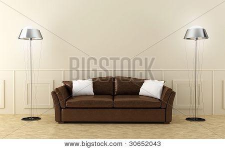 Brown Leather Sofa In Luminous Room