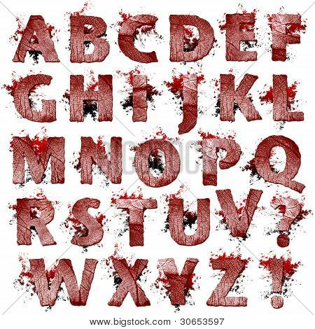 Set of bloody Fingerprint letters