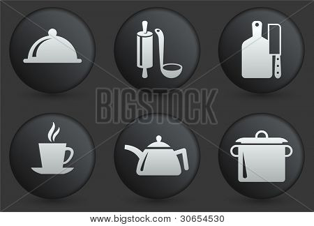 Preparation Icons on Black Internet Button Collection Original Illustration