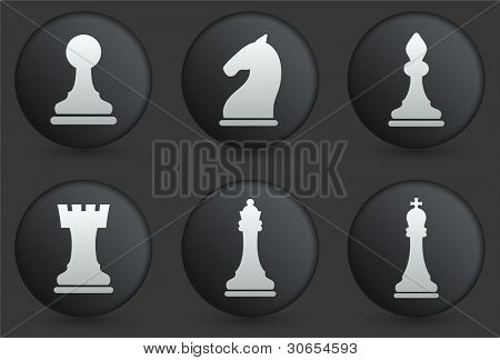 Chess Icons on Black Internet Button Collection Original Illustration