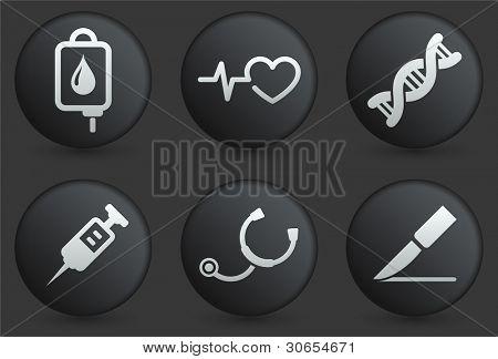Medische pictogrammen op zwarte Internet knop verzameling originele illustratie