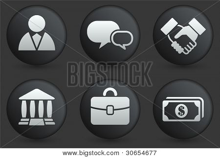 Financial Icons on Black Internet Button Collection Original Illustration