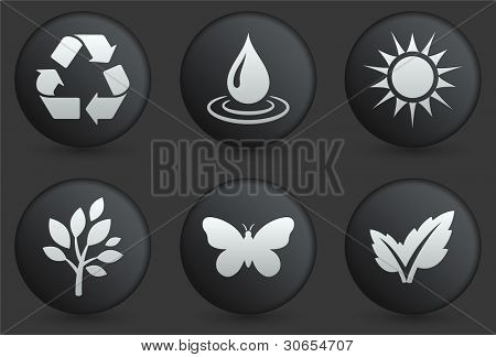 Nature Icons on Black Internet Button Collection Original Illustration