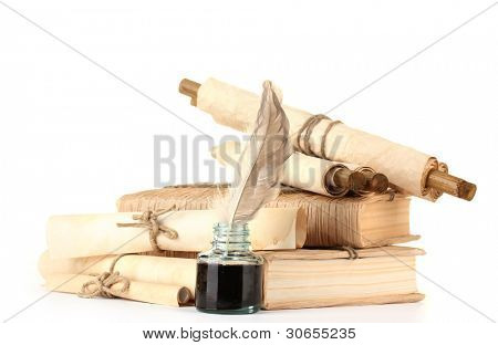 old books, letters and feather pen isolated on white