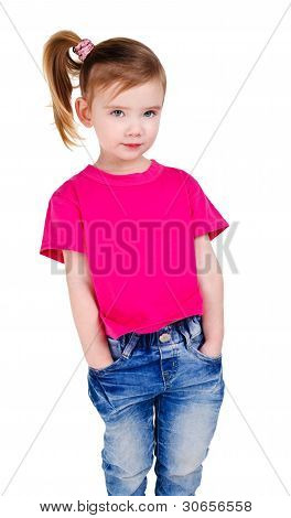 Portrait Of Cute Little Girl In Jeans