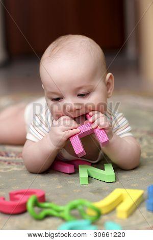 Baby Boy Biting Letter