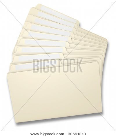 Eight manila file folders fanned on a white background
