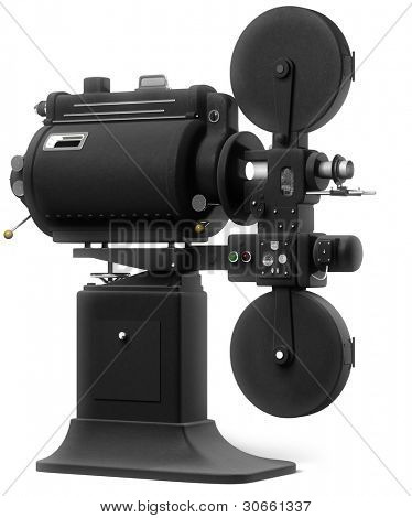 Vintage industrial movie projector on a white background