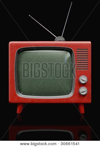 A retro Red TV 3d illustration on black