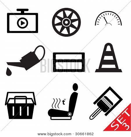 Car part icon set