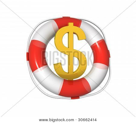Save The Dollar. 3D Illustration On The White Background