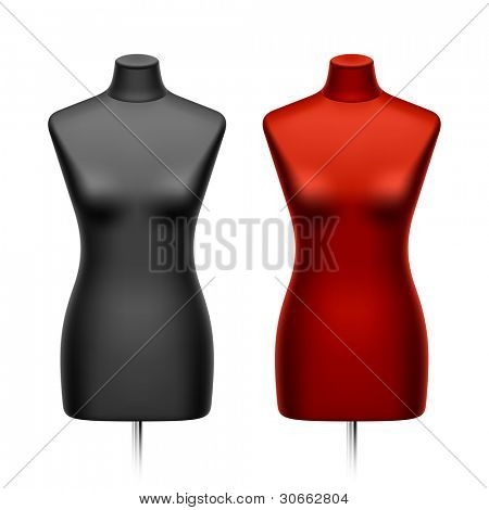 Female tailors dummy, mannequin. Vector.