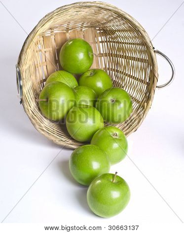 delicious healthy fresh green apples in a basked