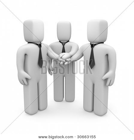3d business people with hands on top of each other. Image contain clipping path