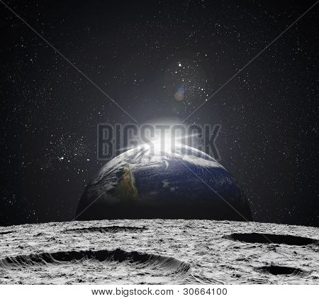 Vista del universo desde la superficie lunar. Ilustración abstracta de regiones distantes.