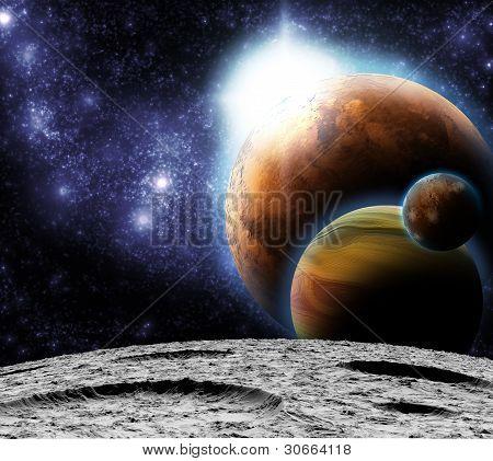 Visão do universo da superfície da lua. Ilustração abstrata de regiões distantes.