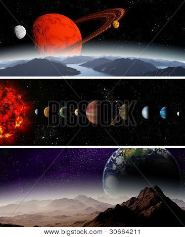 Illustrated Diagram Showing The Order Of Planets In Our Solar System. Abstract Illustration Of Plane