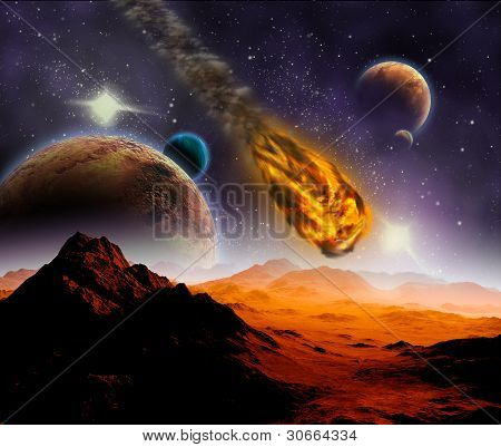 Attack Of The Asteroid On The Planet In The Universe. Abstract Illustration Of A Meteor Impact.