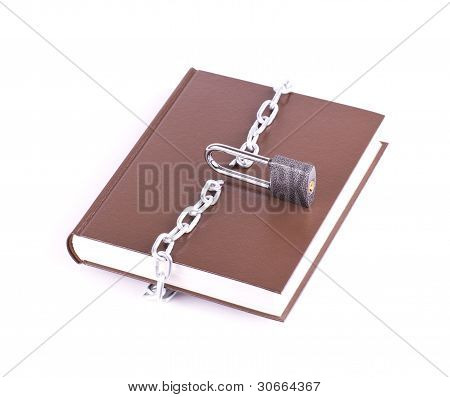 Brown book padlock and the torn chain