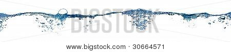 Isolated Water Splashing Panorama With Bubbles And Water Drops - Abstract Background Environmental T