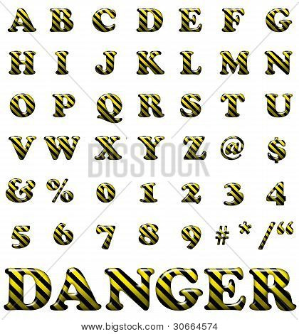 Exclusive Collection Letters With Danger Stripes On White Background. Yellow And Black Illustrated D