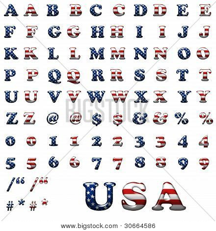 Exclusive Collection Letters Set With American Stars And Stripes Isolated On White Background.