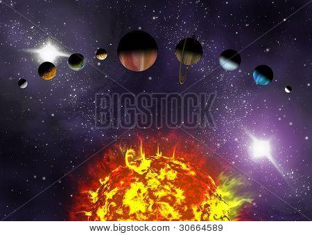 Ilustrado diagrama mostrando a ordem dos planetas do nosso sistema Solar. Ilustração abstrata de avião