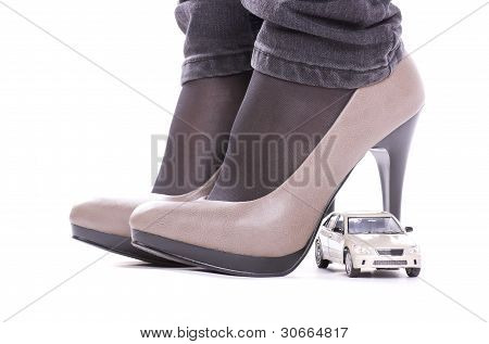 Model of the car about shoes