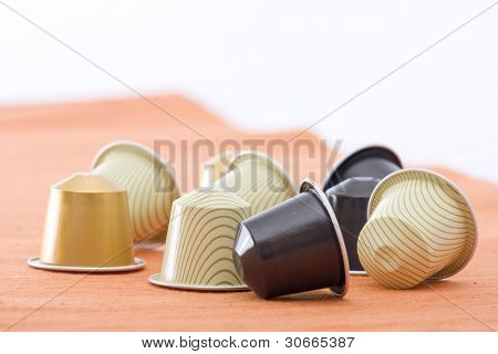 coffee capsules with different colors