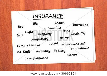 Various types of insurance
