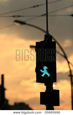 A East German pedestrian's traffic-light at sunset, Berlin
