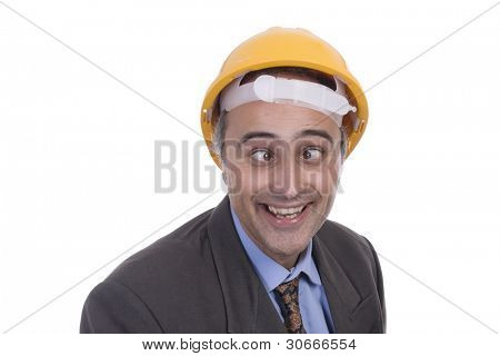 Portrait of a nerd successful business man  with a yellow helmet(isolated on white)