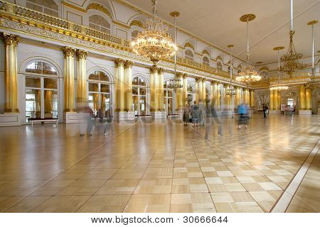 Interior view of Armorial Hall of the Winter Palace, St Petersburg, Russia