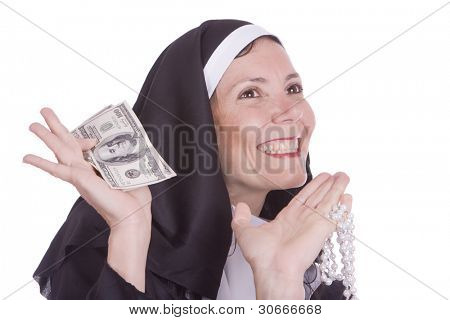 happy nun holding money notes (seven deadly sins - luxury)