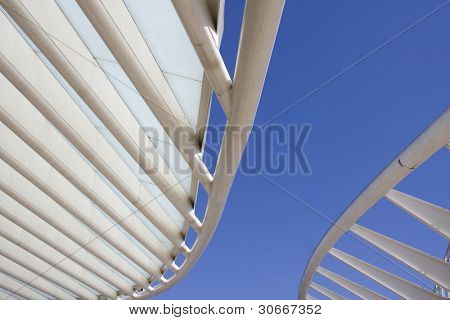 Rooftop detail of downtown city office buildings with modern corporate architecture