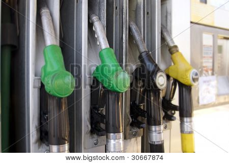 Gas nozzles at the gas station