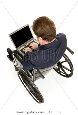 Disabled Businessman Typing
