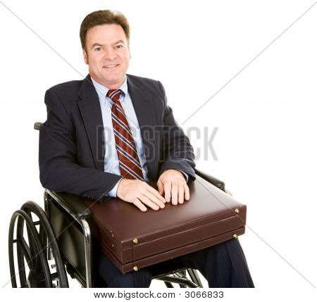 Disabled Businessman With Briefcase