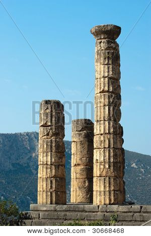 columns temple of Apollo in oracle Delphi, Greece