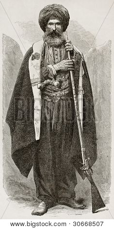 Old Chaldean man engraved portrait. Created by Bayard after photo of unknown author, published on Le Tour du Monde, Paris, 1867