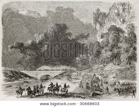 French intervention in Mexico: General De Berthier brigade attacking Puente Nacional. Created by Blanchard, published on L'illustration, Journal Universel, Paris, 1863