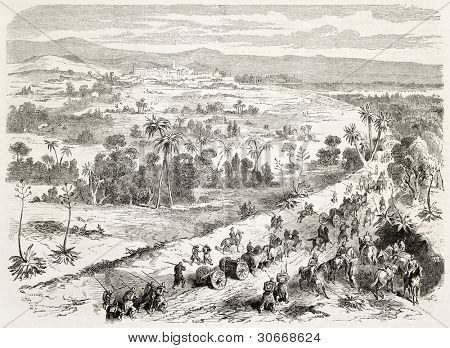 French intervention in Mexico: General De Berthier brigade arriving in Xalapa. Created by Worms, published on L'illustration, Journal Universel, Paris, 1863