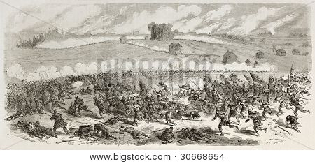 Battle of Fredericksburg old illustration (Confederate Army against Union Army). Created by Godefroy-Durand, published on L'illustration, Journal Universel, Paris, 1863