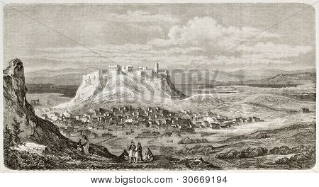 Athens old view, Greece. Created by Pierron, published on L'illustration, Journal Universel, Paris, 1863
