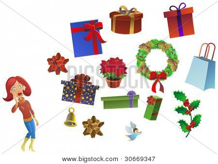 undecided woman standing close to some presents