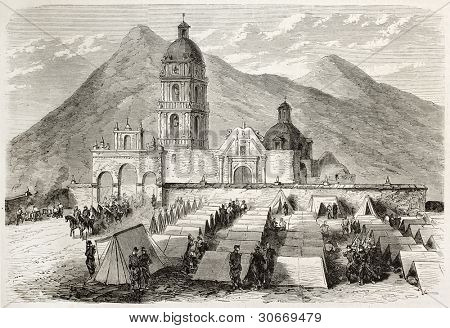 French intervention in Mexico: troops encampment in front of Saint-Sebastien church in Tecamachalco. Created by Gaildrau after Cibot, published on L'illustration, Journal Universel, Paris, 1863