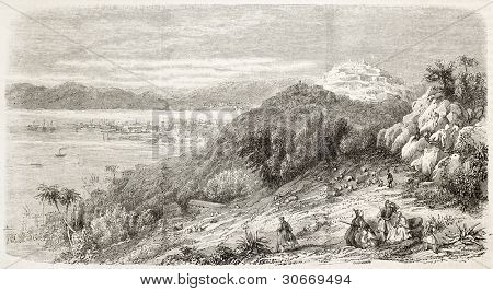 Zakynthos (Zante) old view, Greece. Created by Provost, published on L'Illustration, Journal Universel, Paris, 1863